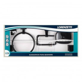 kit de acessorios lorenzetti attic quadra preto 5 pecas 2000 f24