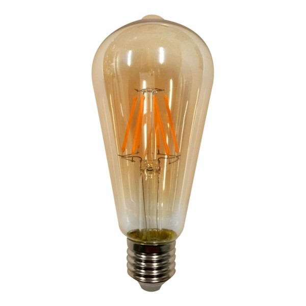 lampada led filamento ecoforce retro pera st64 3 5w ambar autovolt e27