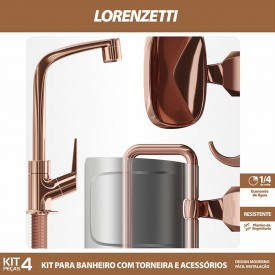 kit acessorios lorenzetti rose gold 2004 f71